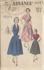 "1950s Vintage Sewing Pattern B34"" HALTERNECK DRESS & BOLERO (R381)"