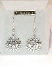 Sterling Silver Smiling Sun Wire Earrings  (7228)