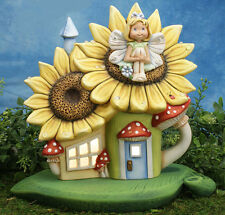 Ceramic Bisque Ready to Paint Lighted Sunflower Palace Fairy House, base & Aster