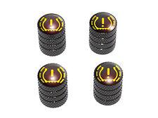 TPMS Tire Pressure Monitoring Symbol Tire Rim Valve Stem Caps - Black