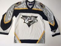 Vintage Mens Nashville Predators Jersey Size M White NHL CCM FLAW Made In Canada