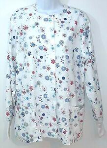 UA Scrubs Lab Coat Women's M White w/Multicolor Floral Pattern Long Sleeve