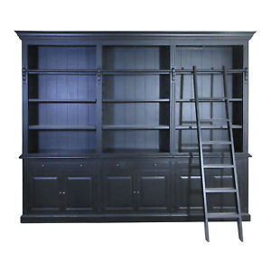 Hamptons Halifax 3 Bay Buffet and Hutch Bookcase with Ladder in BLACK