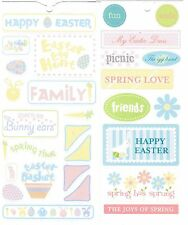 2 Large Sheets DCWV Happy EASTER EGG Hunt Spring Family Scrapbook Stickers