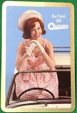 Playing Cards 1 Single Swap Card Vintage OLDHAM BATTERIES Redhead Lady Drive Car