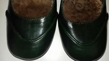 Size 4 Leather HUSH PUPPIES Bottle Green Mary Jane Shoes 3 inch Heel Square Toe