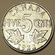 1922 CANADA  5 Cent Nickel Coin KING GEORGE V