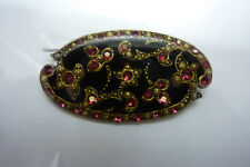 France Victorian Style Vintage Enameled, Inlaid,Blk, Gold, Pink Crystals Pin