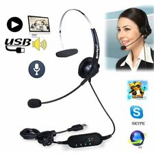 USB Headset Earphone Telephone Headphone With Mic For Computer Laptop PC RX
