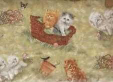 Playful Kitten Collection cute cats in grass Spectrix  fabric