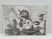 Vtg Dan Thompson Majestic Unicorn Pegasus Horse Lithograph Print Fantasy Drawing