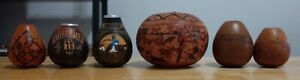 Lot of 6 Vintage Hand Carved/Painted Gourds Argentina