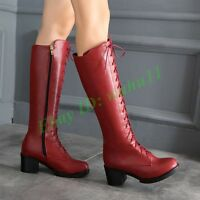 Women Chunky Heel Knee High Boots Riding Leather Knight Lace Up Shoes Zip HOT
