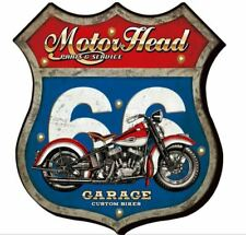 Vintage Metal LED Logo Sign Garage Motorcycle Man Cave Wall Plaque Gift