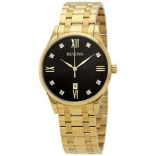 Bulova Men's Quartz Diamond Accent Date Indicator Gold-tone 40mm Watch 97D108
