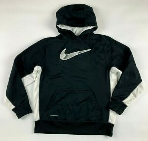 Nike Therma Fit Hoodie Youth XL Unisex Black White Logo Pocket Long Sleeves