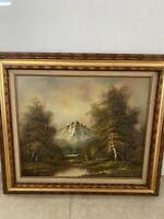 Vintage H Wilson Original Oil on Canvas Painting Signed Framed Landscape 31x27