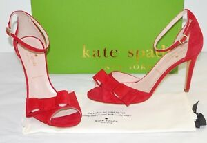New $278 kate spade New York ISMAY Charm Red Kid Suede Dress Sandal Gorgeous!!!