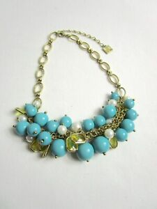 Anne Klein Gold Tone Turquoise White Bauble Necklace Yellow Rectangle Acrylic