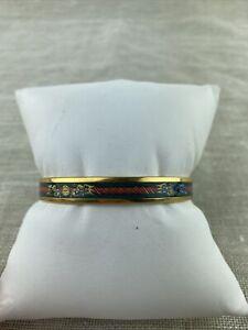 HERMES enamel bracelet with rope details and gold trim