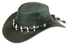 Oil Wax Leather hat ,crocodile Band, 7 teeth 56cm Medium with chinstrap Dundee