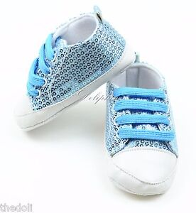 Blue Bling Sequins Baby Boys / Girls Soft Shoe Sneakers for 6-9 Months baby