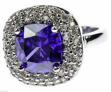 Amethyst Simulated Cz's 18k White Gold Overlay Ladies Ring Size 7