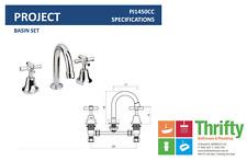 Novelli Project Basin Set Chrome Cross Handle Builders Range 3 Piece