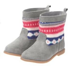 NWT Gymboree ENCHANTED WINTER Dove Gray Fair Isle Boots Girls Size 7
