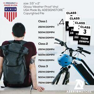4 Electric Bike sticker set class 1 2 3 vinyl bicycle voltage eBike e-bike proof