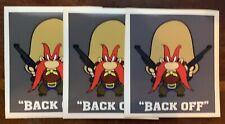 (3) Yosemite Sam Back Off Waterproof Vinyl Stickers 4x3.5 Full Color Decals