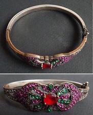 Beau bracelet en argent massif + strass  Vers 1930 Art Deco