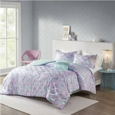Mi Zone Pearl Metallic Printed Mermaid Scale Reversible Full/Queen Comforter Set