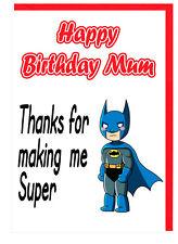 Cartolina di Compleanno per la Mamma Mummia-Supereroe a tema-grazie per avermi fatto SUPER