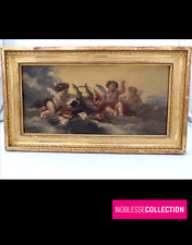 ANTIQUE 1850s 19TH C. FRENCH SCHOOL OIL ON CARDBOARD PAINTING CHERUBS ON CLOUDS