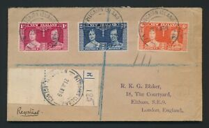 1939 PITCAIRN ISLAND COVER TO ENGLAND, RARE REGISTRATION LABEL, KGVI CORONATION