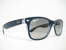 Ray Ban Wayfarer RB2132 6053M3 Blue Transparent/Grey Polarized 55mm NEW AUTH