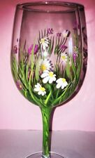 Hand Painted Wine Glass Gift Boxed Daisy Personalised mothers day friend, Family