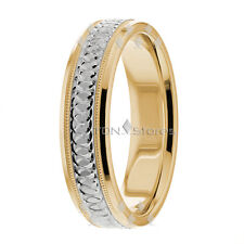 10K Gold Two Tone Mens Womens Wedding Bands Rings 5.5mm Comfort Fit Wedding Ring