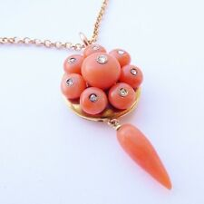 FINE ANTIQUE VICTORIAN 18ct GOLD PINK CORAL & DIAMOND SECRET LOCKET PENDANT
