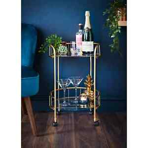 Mini Gold finish Drink Trolley Glass Shelves Bar Cocktail table mini drink table