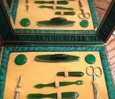 Vintage Vanity Set in mirrored case - Green Plastic prob 1960s/1970s