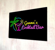 Personalised Tropical Cocktail Bar sign A4 metal Door Plaque Cocktail Party's