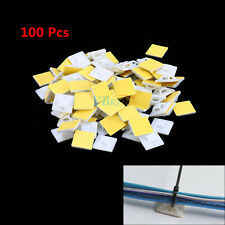 100PC Self Adhesive Cable Wire Zip Tie Mounts Mounting Base Clamps Clip 20mm MP