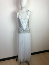 Gatsby Lady 1920's Style Flapper White Sequin Beaded Dress Wedding/Bridal Size 8