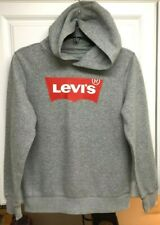 BOYS LARGE (12-13 YRS) LEVI'S GRAY HOODIE SWEATSHIRT w/ RED BATWING LOGO