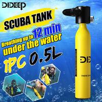 DIDEEP 500ML SCUBA Tank Diving Oxygen Reserve Air Hand Pump Dive Snorkeling