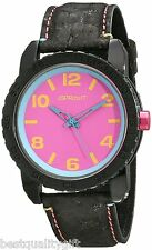 NEW-SPROUT BLACK NATURAL CORK STRAP WITH PINK AND BLUE DIAL WATCH ST/7011PKBK