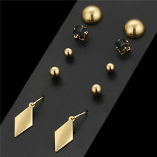 Combo Set Of 5 Pairs High Gloss Gold Plated Stud Drop Dangle Hook Ring Earrings
