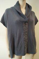 MAX & MOI gris cachemire vison bordure en fourrure à manches courtes Pull Sweater Top 38 UK10